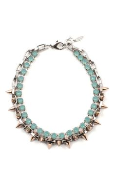 Joomi Lim Shine On Crystal & Spike Choker with Rose Gold Spikes