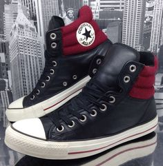 Converse All Star Mens Padded Collar High Top Boot Sz 8.5 Leather Black Red Eu42 #Converse #FashionTrainers