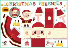 Santa Claus and Reindeer Free Printable DIY Christmas Paper Crafts