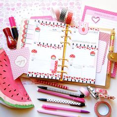 catherina.art: Watermelon and mushrooms in my gold Kikki K planner! ✨ Washi tapes from chiyogamidesigns.com. Strawberry sticky page flags from mypapershoppe.bigcartel.com and watermelon notebook from Typo Shop. Pink mushroom page marker from Kikki k. #planneraddict #plannerlove