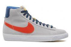 Nuove Uscite Nike Blazer Mid Vintage (GS) Scarpe Sportive Uomo/Donne Platino Puro/Squadra Di Cobalto Arancioni-Iper Prezzo