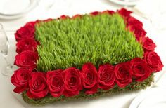 Wheatgrass and roses for derby decor