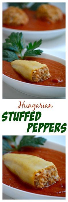Hungarian stuffed peppers in tomato sauce, Töltött paprika recipe - Shelly Tho. Croatian Recipes, Hungarian Recipes, German Recipes, Hungarian Stuffed Peppers, Hungarian Cuisine, Hungarian Food, Beef Recipes, Cooking Recipes, Cooking Tips