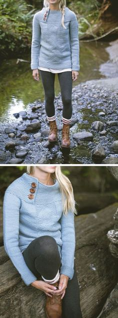 Love this sweater The whole outfit Lots of other pretty patterns too Antrorse pattern from Journey by Jane Richmond Shannon Cook Looks Chic, Looks Style, Style Me, Fashion Mode, Look Fashion, Womens Fashion, Fall Winter Outfits, Autumn Winter Fashion, Winter Hats