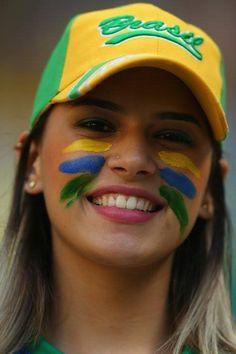 beautiful girl with World Cup Brazilian flag tattoo - Brasil Hot Football Fans, Football Girls, Female Football, Lionel Messi, Fifa, Hot Fan, Football Tournament, Soccer Girl Problems, Manchester United Soccer