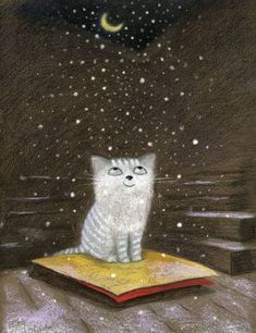 Winter Fairy Tale - the book about a kitten - Nadya Mitskevitch Art And Illustration, Illustrations Posters, Botanical Illustration, Winter Fairy, Photo Chat, Arte Pop, Pics Art, Crazy Cats, Cat Art