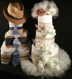 3 Tier Burlap Beauty-Bride and Groom Towel cake by TiersofJoybyUs