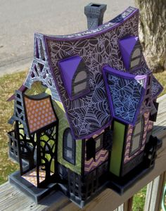 The haunted house that I brought to work has been a HUGE hit! Everyone loves it. Customers have been asking where they can get the kit to. Casa Halloween, Theme Halloween, Halloween Village, Halloween Doll, Halloween Haunted Houses, Halloween Cards, Holidays Halloween, Halloween Decorations, Haunted Dollhouse