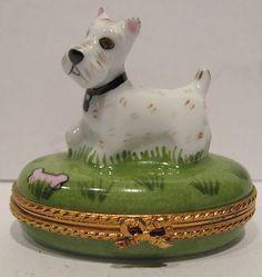 Limoges HP Trinket Box Westie Dog