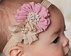 Cabeça do bebê, rosa e bege do vintage chique gasto headband, headbands do bebê, headband menina do bebê, headband criança
