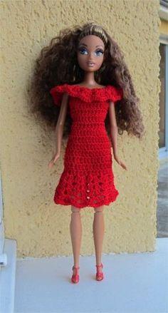 Mademoiselle Barbie vous présente aujourd'hui une robe rouge                      Je vous propose les explications      Fournitures  : d...