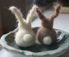 Felted bunnies.  MELUSINE.H