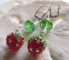 Strawberry drop  glitz red green glass earrings  summer
