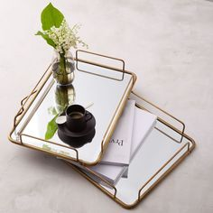 West Elm brass tray