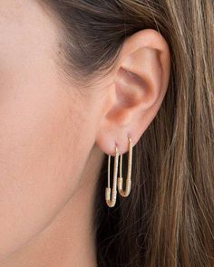 unique designer paperclip safety pin studs fashion elegant women jewelry gold filled delicate cz earring 2018 new Outfit Accessories From Touchy Style Safety Pin Earrings, Clip On Earrings, Statement Earrings, Women's Earrings, Indian Earrings, Small Earrings, Silver Earrings, Diamond Earrings, Beaded Necklace