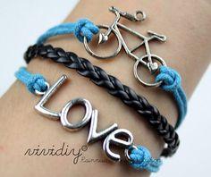 Love braceletAntique silver Bicycle braceletBlue Wax by vividiy, $3.99