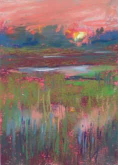 Lowcountry Sunset 2.5 x 3.5 pastel painting, original painting by artist Karen Margulis | DailyPainters.com