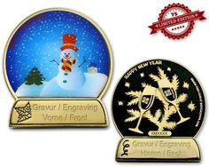 Weihnachtskugel Geocoin Gold/Black mit Gravur XLE - Geocoinshop.de