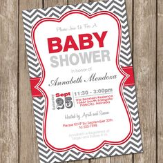 Neutral Baby Shower Invitation Red and Grey by ModernBeautiful, $12.00