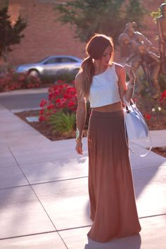 Street fashion maxi skirt and white crop top