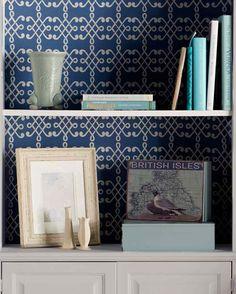 Trellis-Stenciled Bookcase Backsplash from Martha Stewart