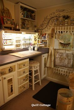 Quill Cottage.... Love this little space! I wouldn't do the wallpaper or scrapbook paper on the walls, but I would adhere them to some surfaces as seen in this studio!!