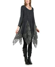 This Deep Gray Lace-Underlay Handkerchief Tunic is perfect! #zulilyfinds