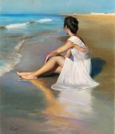 Gomez, Domingo Alvarez (Uses Just- Domingo - b, Sitting in Surf Woman Painting, Figure Painting, Painting & Drawing, Acrylic Painting Tips, Art Drawings Sketches, Pictures To Paint, Beach Art, Art Sketchbook, Beautiful Paintings