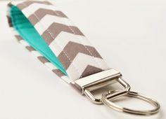 Handmade Chevron Key Chain, Fabric Key Fob, Key Strap -  Smokey Grey and Teal