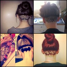 #hair #tattoo #hairtattoo #crazy #sexy #cool #undercut #undershave #napeshave #bun #topknot #mustache #zigzag #batman #batmanundercut #love #like #follow them