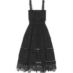 Self-Portrait Guipure lace-paneled ponte midi dress (585 CAD) ❤ liked on Polyvore featuring dresses, vestidos, платья, black, self-portrait, lace inset dress, calf length dresses, a line dress, lace panel dress and a line midi dress