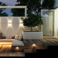Backyard - Wood decking , white rendered walls and raised contemporary planter - fabulous garden/patio lighting Outdoor Areas, Outdoor Rooms, Outdoor Decor, Australian Lighting, Contemporary Planters, Patio Lighting, Lighting Ideas, Ceiling Lighting, Exterior Lighting