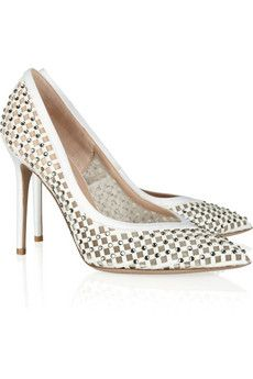 Valentino Embellished Satin, Leather and Mesh Pumps for Spring <3<3