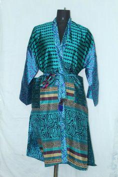 Indian Woman's Sari Boho Bathrobe Dress Patchwork Silk Kimono Jacket Sk-1036 #Handmade #Kimono #AnyOccasionCasual