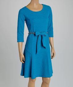 Look what I found on #zulily! Sky Blue Belted Dress by Nina Leonard #zulilyfinds