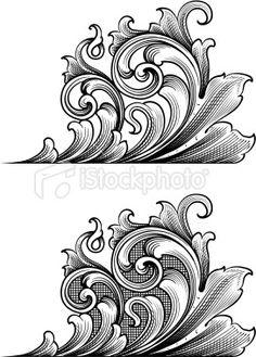 Art déco, Gravure, Gravure, Ornement, Feuille Illustration vectorielle libre de…