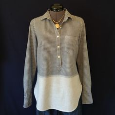 J. Crew Navy & White Popover So Cute!!  Navy & White gingham on top that fades into a blue & white stripe. Shirt tail hem, long sleeves, bust darts for fit, & front breast pocket. Back of neck to hem is 26 1/4 inches, bust measured flat is 28 inches across. Size 2, TTS. Perfect condition, No flaws or wear or tear. J. Crew Tops Button Down Shirts