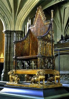 Coronation throne, Westminster Abbey - London, England..Majestic indeed. Thinking of all the famous booties that sat in this chair...