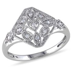 Diamond+Accent+Vintage-Style+Heart+Square+Ring+in+Sterling+Silver