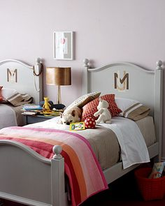 love the beds -- would be cute with each girl's monogram