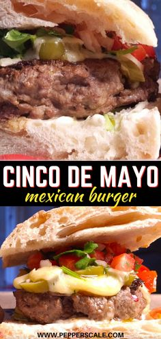 The combination of flavors in this Messy Mexican burger marries up perfectly. There's a creamy side from the avocado, a sharp twist from the cheese, and a cooling garden freshness from the salsa. Then, of course, the spiciness throughout along with a little pungency from the onion and garlic powder. #mexicanburger #burger #cheeseburger #jalapenos #mexicanrecipes #cincodemayo Chipotle Recipes, Healthy Beef Recipes, Beef Recipes For Dinner, Simple Recipes, Light Recipes, Slow Cooker Recipes, Meat Recipes, Mexican Food Recipes, Mexican Burger