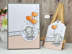 Bienvenue Léontine : carte et étiquette cadeau de naissance pour une petite fille / Gift set with a card and a tag for baby girl