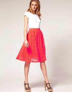 ASOS Neon Lace Midi Skirt