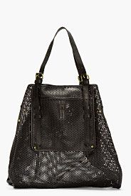 Black Perforated Leather Pat Tote
