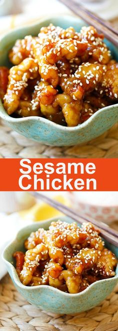 Sesame Chicken – crispy chicken with sweet, savory sauce with lots of sesame seeds. Best and easiest recipe that is better than Chinese takeout | http://rasamalaysia.com