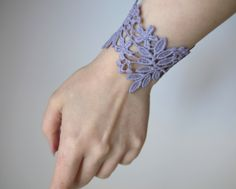 Lace cuff bracelet! Purple taupe, grey taupe, bracelet. Gift for her, gift for woman. by LaurasPills on Etsy