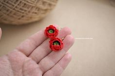 Poppy red earrings, Handmade clay flowers, Fimo earrings, Red flower earrings, Ready