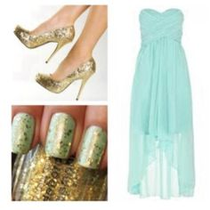 THIS IS WHAT I WANT! Mint blue dresses with gold accents :)