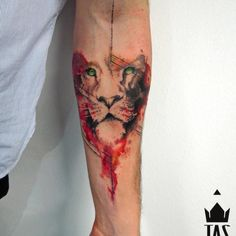 Lion, sketch, forearm tattoo on TattooChief.com