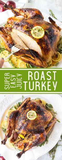 Turkey Super easy roast turkey, this juicy thanksgiving menu turkey is amazing.Super easy roast turkey, this juicy thanksgiving menu turkey is amazing. Easy Dinner Recipes, Holiday Recipes, Easy Meals, Dinner Ideas, Holiday Ideas, Christmas Ideas, Turkey Recipes, Chicken Recipes, Good Food